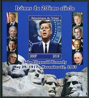 Chad 2018 CTO JFK John F Kennedy 1v M/S US Presidents Famous People Stamps
