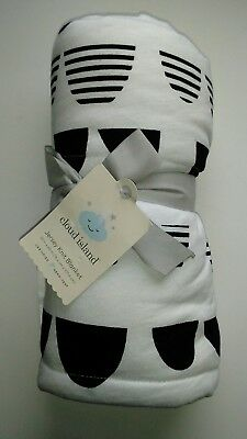 Cloud Island Jersey Knit Reversible Baby Blanket Black White Graphic NEW