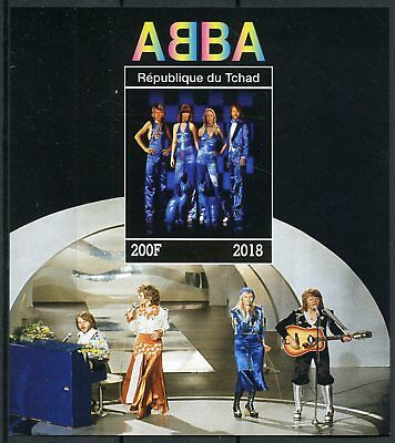 Chad 2018 MNH ABBA 1v IMPF M/S Celebrities Popstars Music Famous People Stamps
