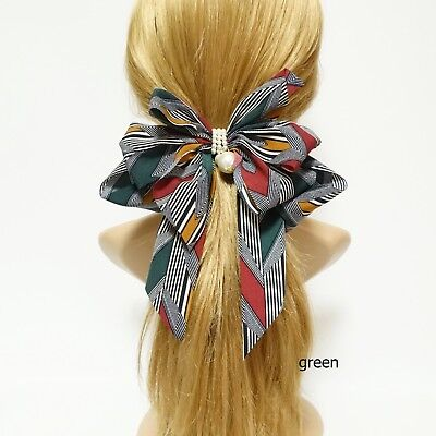 stripe arrow pattern tail hair bow french barrette women hair accessories