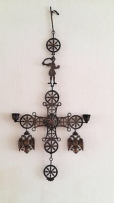 Antique Brass Bronze Byzantine Celtic Cross Candle Holder Two Eagles