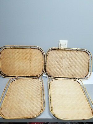Lot of 4 Vintage Bamboo Woven Rattan Wicker Tiki Serving Trays_..