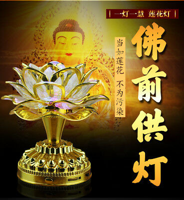 New Chinese Asian Table Temple Desk Altar Lotus Buddha Colorful Lamp Light