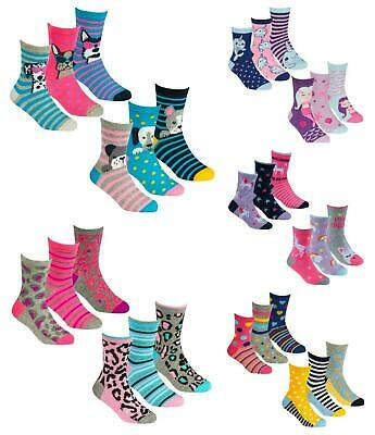 Girls Unicorn Socks Pack of 3 Choice of 2 Styles  6-8.5  9-12 12-3.5 Shoe Size