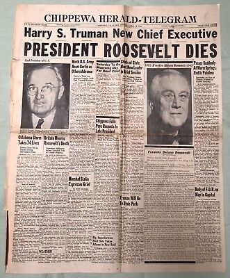 FDR Franklin Roosevelt DEATH, WWII, Chippewa Falls (WI) Newspaper, Apr 13, 1945