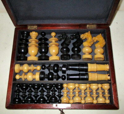 BEAUTIFUL BOXWOOD ANTIQUE CHESS SET IN NICE LOCKABLE MAHOGANY BOX with key