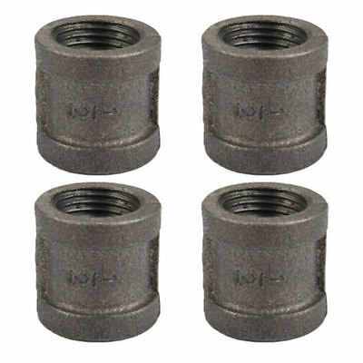 1/2 Inch Black Malleable Iron Pipe Threaded Coupling Fitting 4Pack