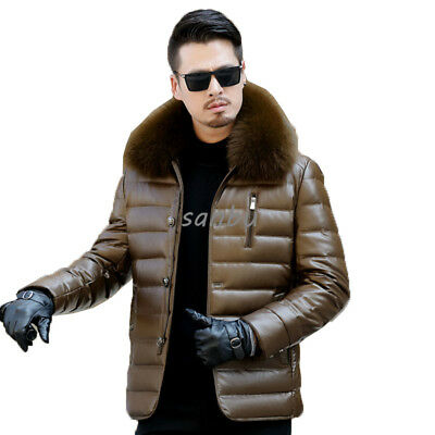 Mens Real Sheepskin Down Coat Jacket Mid Long Thick Winter Warm Casual Slim New