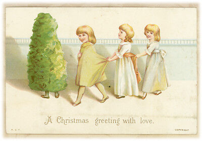"""Pretty Girls Child Dressed as Christmas Tree H&F Antique Victorian Card 5.25"""""""