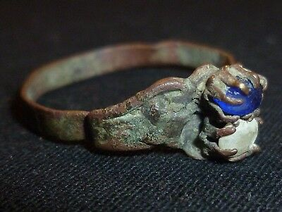 Rare MEROVINGIAN Bronze RING with Gems - Circa 6th - 7th Century AD         /409