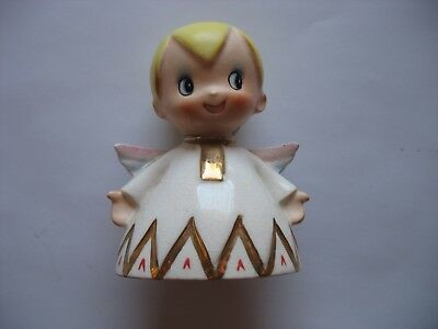 Vintage Lefton Angel Bell With Original Label #2558 Blond Boy JAPAN