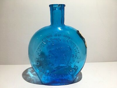 Vtg Clevenger Brothers South Jersey Blue Glass John F. Kennedy decanter bottle