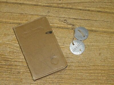 Original WWI U.S. Soldier's Dog Tags and a WWI New Testament Bible