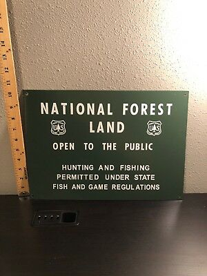 National Forest Land Open To Public Hunting Fishing Game Tin Metal Sign