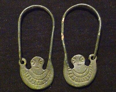 VIKING Ancient Bronze SET - EARRINGS - God ODIN - Circa 700-900 AD          /418