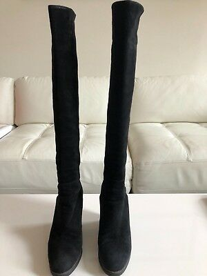 9075d73f159 Stuart Weitzman Demiswoon Black Suede with Stretch Over the Knee Boots 8.5 M