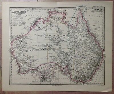 AUSTRALIA DATED 1887 STIELER ATLAS XIXe CENTURY LARGE ANTIQUE ENGRAVED MAP