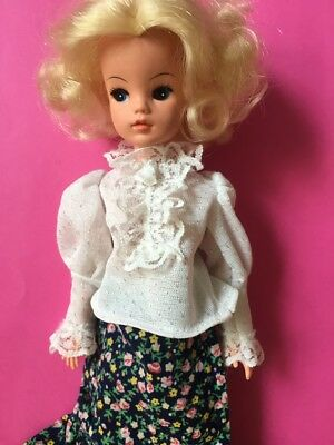 Vintage white lace fancy frilly blouse doll clothes fit Sindy Barbie SHIMMYSHIM