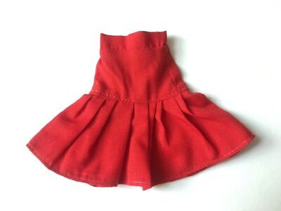 Vintage bright red gathered 80s skirt doll clothes fit Sindy Barbie SHIMMYSHIM