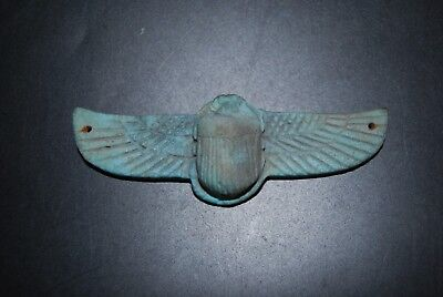 Rare antique Egyptian winged scarab – blue faience - Late Period 750-332 BC
