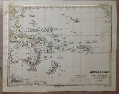 Australia Polynesia Dated 1855 Stieler Atlas Large Antique Engraved Map