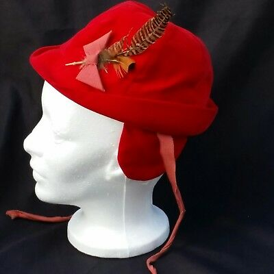 Fedora Baby Toddler Boy Red Velour Feather Ear Flaps Ties Winter Vintage Size 6