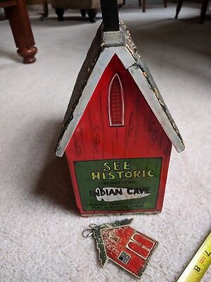 Vintage Wood Historic Indian Cave Painted Roof Barn Purse Hand Made Unique OOAK