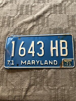 Vintage 1971 Maryland License Plate 1643HB With Sticker