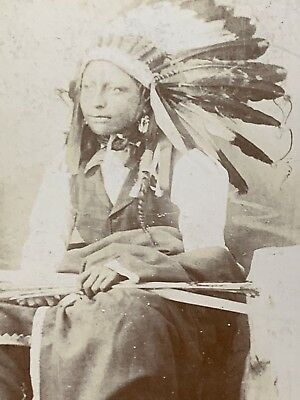 NATIVE AMERICAN SIOUX INDIAN CHIEF Afraid Of The Bear CABINET CARD PHOTO 1891