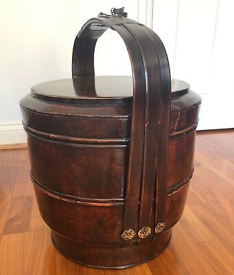 Tiered storage basket 3-pieces two compartments beautiful dark stained wood