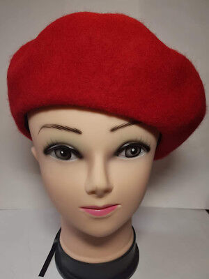 Plain Adjustable Beret Hat 100% Pure Wool French Style Winter Autumn Women