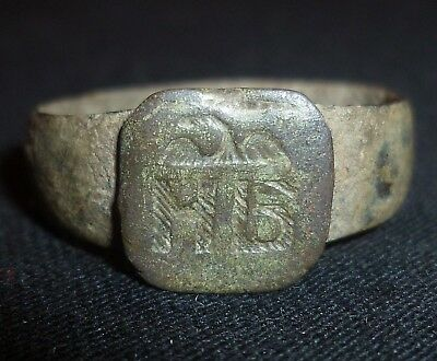 BYZANTINE Bronze RING with Eagle and Monogram - Circa 1000 AD          /428