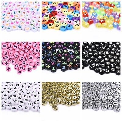 4*7mm Alphabet Acrylic Beads DIY Jewelry Findings Loose Spacer 100pcs Beads