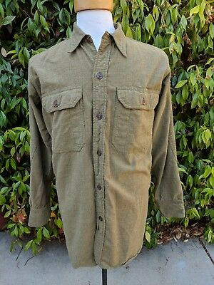 Vintage Wwii Us Army Wool Shirt Men's Size Medium Olive Green Ww2 Original