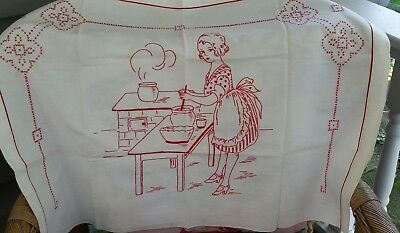Antique Vintage Redwork Embroidery Linen Kitchen Towel or tray cloth