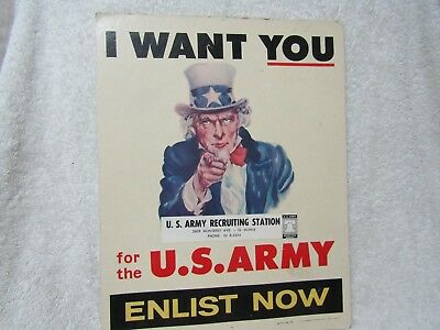 US Army Recruiting Poster Dated 1962 From El Monte, CA.