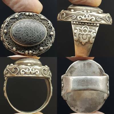 Rare Holy Islamic Writing Stone Solid Silver Antique Ring     # 5C