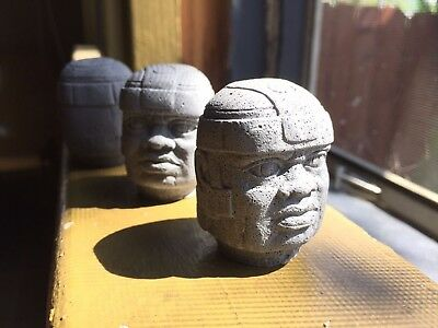 Set of 3 Pre-Columbian Handmade Olmec Head Sculptures