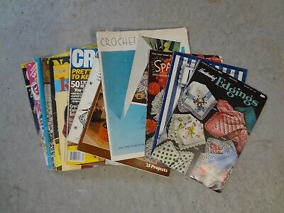 large lot of 17 vintage crochet magazines -patterns-edgings-craft shows
