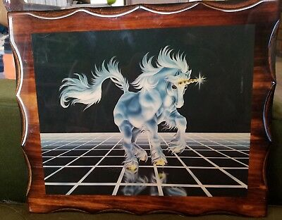 "Vintage 80s Sue Dawe Unicorn Resin Wood Art ""Up From the Grid"" vaporwave decor"