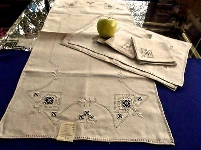 Antique Italian Flax Linen Runner 4 Placemats 6 Cocktail Napkins Reticella Lace