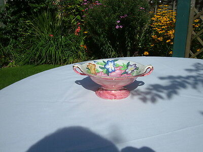 Vintage Maling Hand Painted  Posy Bowl Scrolled Handles & Pedestal Foot