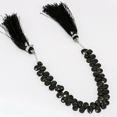 """Faceted Black Onyx Natural Gemstone Almonds Shape Beads Strand Length 6"""""""