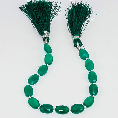 """46Ct. Green Onyx Natural Gemstone Oval 11Mmx7Mm Beads Strand 7"""""""