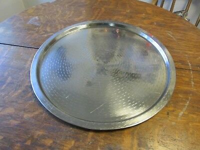 21 in.  Round Stainless Steel Patterned  Serving Tray EUC