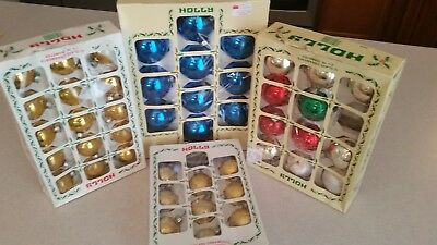 Lot 4 Boxes (Total 46) Vintage Holly Christmas Glass Ball Ornaments