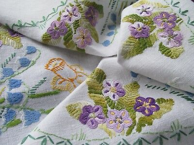 Vintage Hand Embroidered Linen Tablecloth-BEAUTIFUL SPRING FLOWERS
