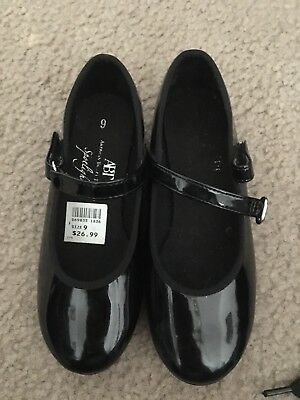 ABT LITTLE GIRLS BLACK PATENT MARY JANE STRAP TAP SHOES SZ 9 Child
