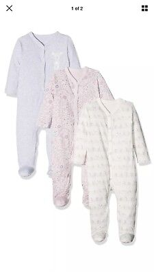 Mothercare Baby Girls New Baby Sleepsuits Grey Pink Bunny Birds Newborn Babygro