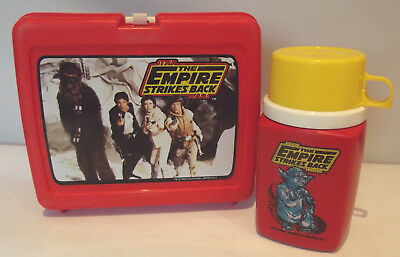Star Wars The Empire Strikes Red Back Plastic Lunch Box w Thermos 1980